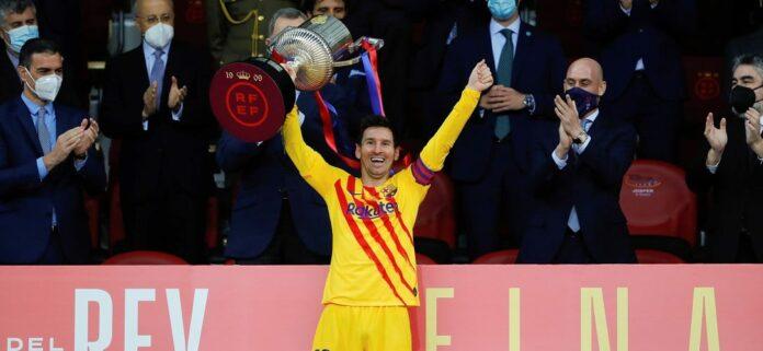 Messi celebra ganar la Copa del Rey